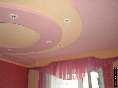 Гипсокартонных потолков в спальне