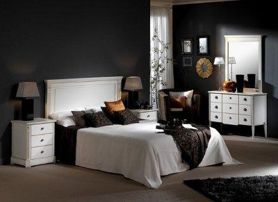 Черный цвет стен в спальне