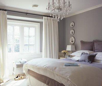 Серый цвет стен в спальне