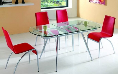 Glass dining room tables with extensions